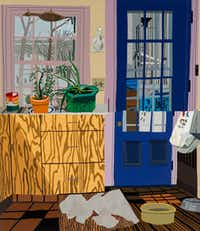 Jonas Wood, <i>Kitchen with Jade and Aloe Plants</i>, 2013, oil and acrylic on linen, 88 x 76 in., collection of Richard Prince, courtesy the artist and Anton Kern Gallery, New York.(Brian Forrest)
