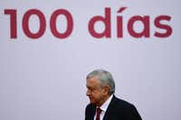 Mexican President Andres Manuel Lopez Obrador arrived to deliver his report on the first 100 days of government at the National Palace in Mexico City on March 11, 2019.(Pedro Pardo/Agence France-Presse)