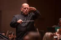 Dallas Symphony Orchestra conductor laureate Jaap van Zweden leads the orchestra in his first return concert at the Meyerson Symphony Center in Dallas on March 14, 2019.(Shaban Athuman/Staff Photographer)