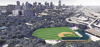This is what Mark Schuster said Reverchon would look like once the ballpark was given a makeover for a season set to begin in April.(<p>Southwest League of Professional Baseball/ DLR Architects</p>)