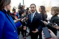 Rep. Joaquin Castro, D-Texas, spoke to reporters on March 14, 2019, after the Senate rejected President Donald Trump's emergency border declaration.(Andrew Harnik/The Associated Press)
