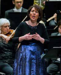 Soprano Jessica Rivera performing with the Fort Worth Symphony Orchestra conducted by Robert Spano, not pictured, at Bass Performance Hall in Fort Worth, Texas on Saturday, March 16, 2019. (Daniel Carde/Staff Photographer)