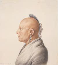 """The watercolor """"Osage Warrior"""" is part of the accompanying exhibit, """"Artistic Encounters with Indigenous America,"""" which runs through May 13 and explores how American Indians were viewed by non-Native artists and photographers.(The Metropolitan Museum of Art/The Associated Press)"""