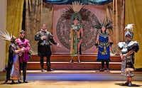 <p>From left:&nbsp;Jendi Tarde (as Teutile), Janna Elesia Critz (Ramiro), Nicholas Garza (Fernando), Ryan D. Kuster (Montezuma), Hannah Ceniseros (Mitrena) and Keymon Murrah (Asprano) starred in the American Baroque Opera Company's performance of Antonio Vivaldi's opera <i>Montezuma&nbsp;</i>at Arts Mission Oak Cliff.&nbsp;</p>(Karen Almond/American Baroque Opera Co.)