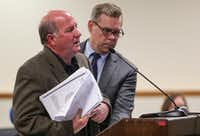 Dale Davenport, left, owner of Jim's Car Wash, testifies as his attorney, Warren Norred, stands by during a meeting of the city's Board of Adjustment on Wednesday.(Ryan Michalesko/Staff Photographer)