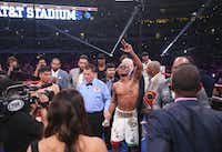 Errol Spence Jr. waves as fans chant right before he was declared winner of an IBF World Welterweight Championship match against Mikey Garcia on March 16, 2019, at AT&T Stadium in Arlington. All three judges picked Spence as the winner over Garcia in all 12 rounds of the fight.(Ryan Michalesko/Staff Photographer)
