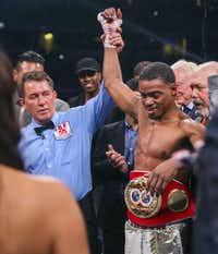 Errol Spence Jr. is declared winner over Mikey Garcia by way of rounds following a IBF World Welterweight Championship match on March 16, 2019, at AT&T Stadium in Arlington.(Ryan Michalesko/Staff Photographer)