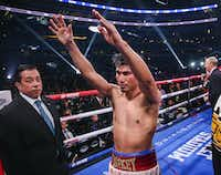 Mikey Garcia waves to fans following his defeat to Errol Spence Jr. in a IBF World Welterweight Championship match on March 16, 2019, at AT&T Stadium in Arlington.(Ryan Michalesko/Staff Photographer)
