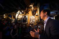 Presidential candidate Julian Castro speaks during a campaign event at St. Pete's Dancing Marlin in Deep Ellum on Tuesday, March 19, 2019, in Dallas. The former San Antonio Mayor met with Democrats  in Dallas on Tuesday after campaigning for the Democratic Party nomination in New Hampshire on Monday. (Smiley N. Pool/The Dallas Morning News)(Smiley N. Pool/Staff Photographer)