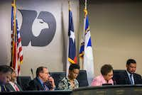 DeSoto Mayor Curtistene S. McCowan (second from right) speaks during a DeSoto City Council meeting on March 19. (Daniel Carde/Staff Photographer)