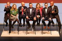 From left, Dallas mayoral candidates Mike Ablon, Lynn McBee, Miguel Solis, Jason Villalba, Regina Montoya, Scott Griggs and Albert Black acknowledge the crowd at the end of the Engage Dallas 2019 Mayoral Candidates Forum hosted by the Mayor's Star Council at the Music Hall at Fair Park on Friday, March 8, 2019, in Dallas. (Smiley N. Pool/The Dallas Morning News)(Smiley N. Pool/Staff Photographer)