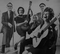 Lu Mitchell (far right) in a photo with her folk band in 1962. (<i>The Dallas Morning News</i> archives.)