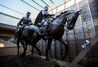 Alexander Phimister Proctor's statue of Robert E. Lee (right) and a young soldier since its removal from the park formerly known as Lee Park,  where it stood for over 80 years until it's removal in Sept. 2017.(Ashley Landis/Staff Photographer)
