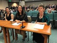 """<p>From left, Gianna Jessen of Nashville, Claire Culwell of Pflugerville and Carrie Fischer of Houston wait to testify before the House Judiciary and Civil Jurisprudence Committee at the Texas Capitol on Monday.&nbsp;<span style=""""font-size: 1em; background-color: transparent;"""">Plano GOP Rep. Jeff Leach described them as """"survivors"""" of abortion.</span></p>(W. Gardner Selby/Staff)"""