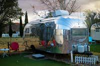 A 22-foot-long 1955 Airstream is one of 12 vintage travel trailers at the Shady Dell Vintage Trailer Court.(Erin E. Williams/The Washington Post)