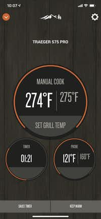 Screenshot of the Traeger app(Jim Rossman)