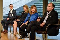Mayoral candidate Mike Ablon, from right, sits with other candidates as he speaks about the issues facing the arts in Dallas communities at the Dallas Mayoral Arts and Cultural Forum held at the Nasher Sculpture Center in Dallas, Monday March 25, 2019. Candidates from left, Scott Griggs, Lynn McBee and Regina Montoya.(Ben Torres/Special Contributor)
