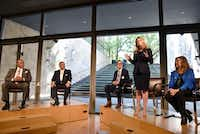 Mayoral candidate Lynn McBee, second from right, stands as she speaks about the issues facing the arts in Dallas communities at the Dallas Mayoral Arts and Cultural Forum held at the Nasher Sculpture Center in Dallas, Monday March 25, 2019.(Ben Torres/Special Contributor)