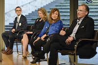 """<p><span style=""""font-size: 1em; background-color: transparent;"""">Mayoral candidates Scott Griggs (from left) Lynn McBee, Regina Montoya and Mike Ablon spoke about the issues facing the Dallas arts community at the Nasher Sculpture Center on Monday.&nbsp;</span></p>(Ben Torres/Special Contributor)"""