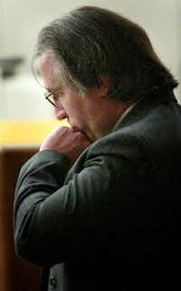 Patrick Murphy quietly reacts in November 2003 after a jury found him guilty of capital murder in connection with the Christmas Eve 2000 shooting death of Irving Police Officer Aubrey Hawkins. Murphy and six other violent prison escaped from prison and killed Hawkins during a robbery.(FILE PHOTO)