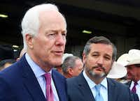 GOP Sens. John Cornyn (left) and Ted Cruz of Texas have helped expedite President Donald Trump's efforts to reshape the federal judiciary in Texas.(Joel Martinez/The Monitor)