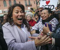 U.S. Rep. Veronica Escobar, D-El Paso, arrives at a Beto O'Rourke presidential campaign kickoff rally in downtown El Paso on Saturday, March 30, 2019.(Ryan Michalesko/Staff Photographer)