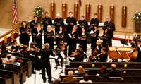 Orchestra of New Spain, with chorus, perform a concert featuring sacred music by Mozart and Francisco Courcelle conducted by director Grover Wilkins at Zion Lutheran Church in Dallas on March 30, 2019.(Brian Elledge/Staff Photographer)