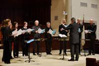 The Tallis Scholars, conducted by director Peter Phillips, perform a concert at Highland Park United Methodist Church in Dallas on March 31, 2019.(Ben Torres/Special Contributor)
