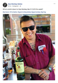 A Facebook post submitted with court documents in Dallas County court. Richard Rawlings is countersuing Gas Monkey Bar N' Grill over alleged copyright infringement in its operations including promotional content on social media.