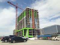 The 17-story luxury apartment tower is under constructon near the northwest corner of the Dallas North Tollway and Warren Parkway in Frisco. It's scheduled to open in early 2020.(Steve Brown)
