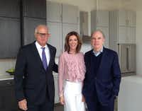 """<p>From left: Developer Robert Shaw,&nbsp;<span style=""""font-size: 1em; background-color: transparent;"""">Charlotte Jones Anderson and Roger Staubach are shown in one of the model kitchens for the new Twelve Cowboys Way apartment tower in Frisco.</span></p>(Steve Brown)"""