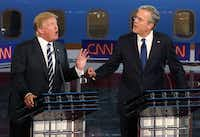 The book says that Barbara Bush's dislike for Donald Trump (left) grew when he belittled her son, Jeb, as they competed for the 2016 Republican presidential nomination.(Justin Sullivan/Getty Images)