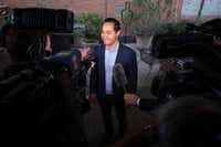 Presidential candidate Julian Castro addresses reporters before a campaign event at St. Pete's Dancing Marlin in Deep Ellum on Tuesday, March 19, 2019, in Dallas. The former San Antonio Mayor met with Democrats  in Dallas on Tuesday after campaigning for the Democratic Party nomination in New Hampshire on Monday. (Smiley N. Pool/Staff Photographer)