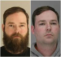 Austin Shuffield was first arrested March 21 (left) on the original misdemeanor charges. A week later, he was clean-shaven for his re-arrest on a weapons charge.(Dallas County Jail)