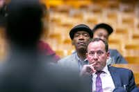 Dallas City Council member Philip Kingston, pictured at a Dallas ISD meeting in February, owes the city more than $8,000. (Shaban Athuman/The Dallas Morning News)(Shaban Athuman/Staff Photographer)