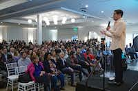 Dallas Mavericks owner Mark Cuban speaks to a packed house at The Hall on Dragon as part of Dallas Startup Week on Tuesday May 2, 2019.(Lawrence Jenkins/Special Contributor)