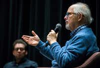 """Art historian and critic Rick Brettell (right) revealed that he is working to establish a Texas Museum of Art during an """"Art and the City"""" talk with architecture critic Mark Lamster on Monday in Dallas.(Daniel Carde/Staff Photographer)"""