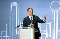Mayor Mike Rawlings spoke to students during the the 11th Annual Mayor's Intern Fellows Program held at the Hyatt Regency Dallas, Friday, July 27, 2018. (Tom Fox/The Dallas Morning News)(Tom Fox/Staff Photographer)