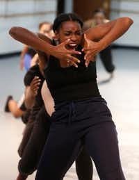 Bianca Melidor of DBDT: Encore! rehearses My'Kal Stromile's <i>Mirror of the Effigy</i>, premiering April 12-13 at Moody Performance Hall.(Vernon Bryant/Staff Photographer)