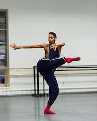 My'Kal Stromile rehearses with Boston Ballet II.(Brooke Trisolini)