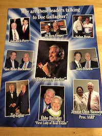 <p>This one-sheet picked up by The Dallas Morning News Watchdog in a 2016 financial seminar shows the accused radio show host photographed with a who's who of notables.</p>(Dave Lieber/Staff)