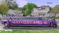 A purple stretch limousine just like this one will be parked at the Dallas Farmer's Market April 6-10 to promote online home furnishings retailer Wayfair's Way Day.(Courtesy of Wayfair)