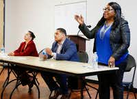 <p>Candidates for Dallas City Council District 5 -- Ruth Torres (from left), Jaime Resendez and Yolanda Faye Williams -- answered questions during a candidate forum sponsored by the Community Watch Group of Bruton Terrace and Hillside Oaks Crime Watch at Pleasant Oaks Recreation Center in Dallas on April 4, 2019.</p>(Brian Elledge/Staff Photographer)