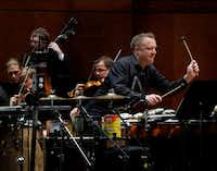 Percussion soloist Colin Currie plays the Andrew Norman  percussion concerto <i>Switch</i>&nbsp;with the Fort Worth Symphony Orchestra and music director Miguel Harth-Bedoya on Friday at Bass Performance Hall in Fort Worth.&nbsp;(Lawrence Jenkins/Special Contributor)