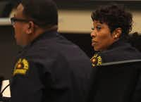 Dallas Police Chief U. Renee Hall looks over to Lt. David Davis as he presents an overview of the gang unit during a Dallas City Council committee briefing at city hall on Monday, April 8, 2019. (Rose Baca/Staff Photographer)(Rose Baca/Staff Photographer)