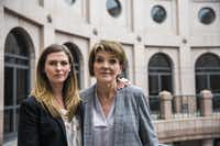 Eve Wiley (left) and her mother, Margo Williams, poses for a portrait after testifying before the Senate Criminal Justice Committee on Wednesday, April 3, 2019 at the Texas state capitol extension in Austin. Wiley was conceived through artificial insemination. Through genetic testing in 2018, she discovered that the sperm donor her mother chose was not her father. Rather, she says the doctor who performed the artificial insemination procedure is her father. They, with Texas Senator Joan Huffman, are trying to pass SB 1259, which would make it a state jail felony for a health care provider to implant human reproductive material from an unauthorized source without consent of the patient. (Ashley Landis/Staff Photographer)