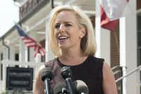 Homeland Security Secretary Kirstjen Nielsen talks outside her home in Alexandria, Va., on Thursday, April 8, 2019. Nielsen says she continues to support the president's goal of securing the border in her first public remarks since her surprise resignation. (Kevin Wolf/AP)