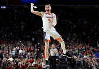 Kyle Guy of the Virginia Cavaliers celebrate his teams 85-77 win over the Texas Tech Red Raiders to win the the 2019 NCAA men's Final Four National Championship game at U.S. Bank Stadium on April 8, 2019, in Minneapolis.(Streeter Lecka/Getty Images)