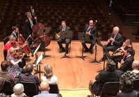 """Dallas Symphony Orchestra musicians Angela Fuller Heyde (violin), Ann Marie Brink (viola), Jeffrey Hood (cello), Nicolas Tsolainos (double bass), David Heyde (horn), Ted Soluri (bassoon), Paul Garner (clarinet), Willia Henigman (oboe) and David Buck (flute) perform a Nonet by Bohuslav Martino at a """"Musician's View"""" concert April 8, 2019 at the Meyerson Symphony Center. The concert was part of the DSO's 2019 Soluna International Music and Arts Festival (Scott Cantrell/Special Contributor)"""