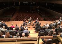 View from the Meyerson Symphony Center's choral terrace, as Dallas Symphony Orchestra musicians David Buck (flute), Erin Hannigan (oboe), David Cooper (horn), Ted Soluri (bassoon) and Gregory Raden (clarinet) perform a wind quintet arrangement of Mozart's <i>Magic Flute</i> Overture on April 8, 2019. (Scott Cantrell/Special Contributor)